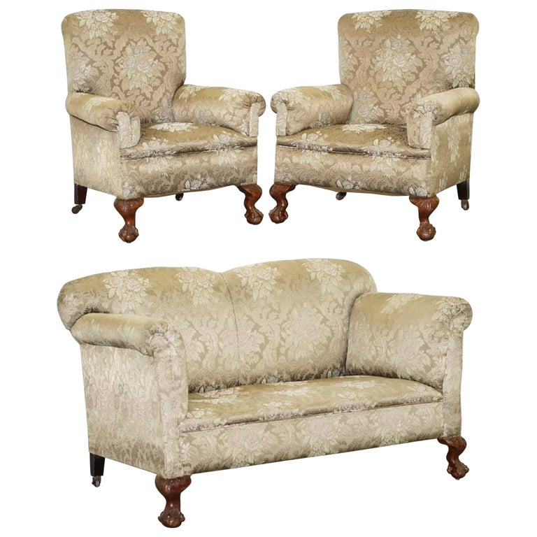 Victorian Three Piece Suite Drop Arm Sofa & Pair of Armchairs Claw and Ball Feet For Sale