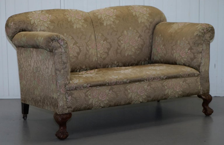 Victorian Three Piece Suite Drop Arm Sofa & Pair of Armchairs Claw and Ball Feet For Sale 4