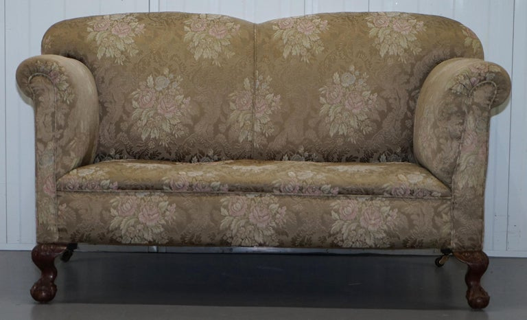 Victorian Three Piece Suite Drop Arm Sofa & Pair of Armchairs Claw and Ball Feet For Sale 5