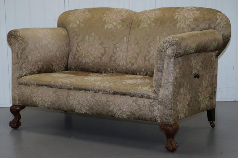 Victorian Three Piece Suite Drop Arm Sofa & Pair of Armchairs Claw and Ball Feet For Sale 6