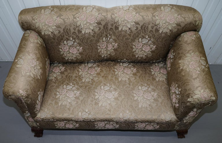 Victorian Three Piece Suite Drop Arm Sofa & Pair of Armchairs Claw and Ball Feet For Sale 7