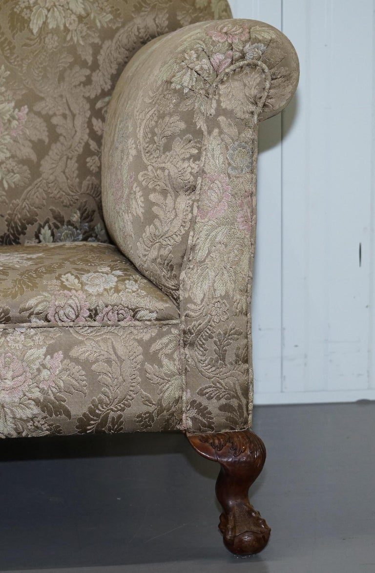Victorian Three Piece Suite Drop Arm Sofa & Pair of Armchairs Claw and Ball Feet For Sale 8