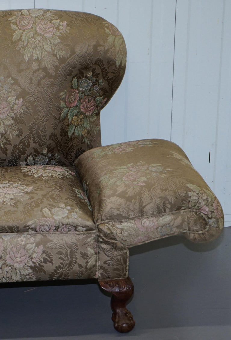 Victorian Three Piece Suite Drop Arm Sofa & Pair of Armchairs Claw and Ball Feet For Sale 9