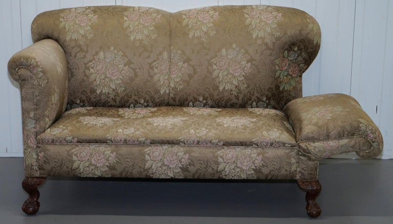 Victorian Three Piece Suite Drop Arm Sofa & Pair of Armchairs Claw and Ball Feet For Sale 10