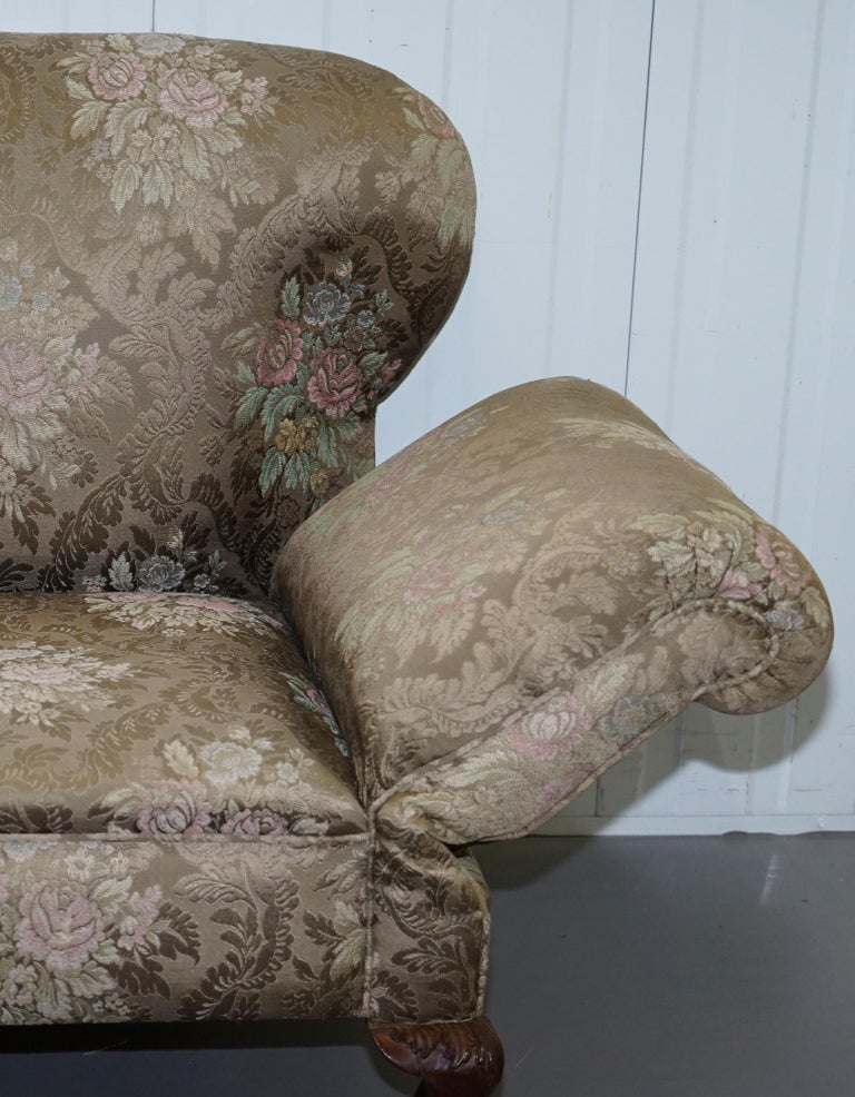 Victorian Three Piece Suite Drop Arm Sofa & Pair of Armchairs Claw and Ball Feet For Sale 11
