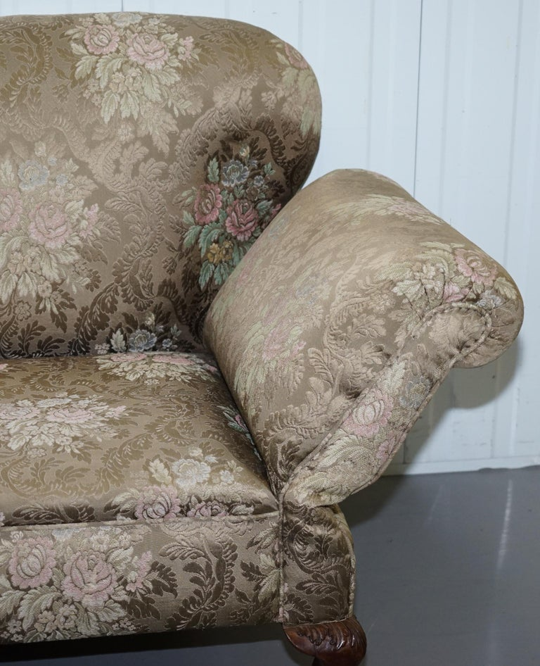 Victorian Three Piece Suite Drop Arm Sofa & Pair of Armchairs Claw and Ball Feet For Sale 12