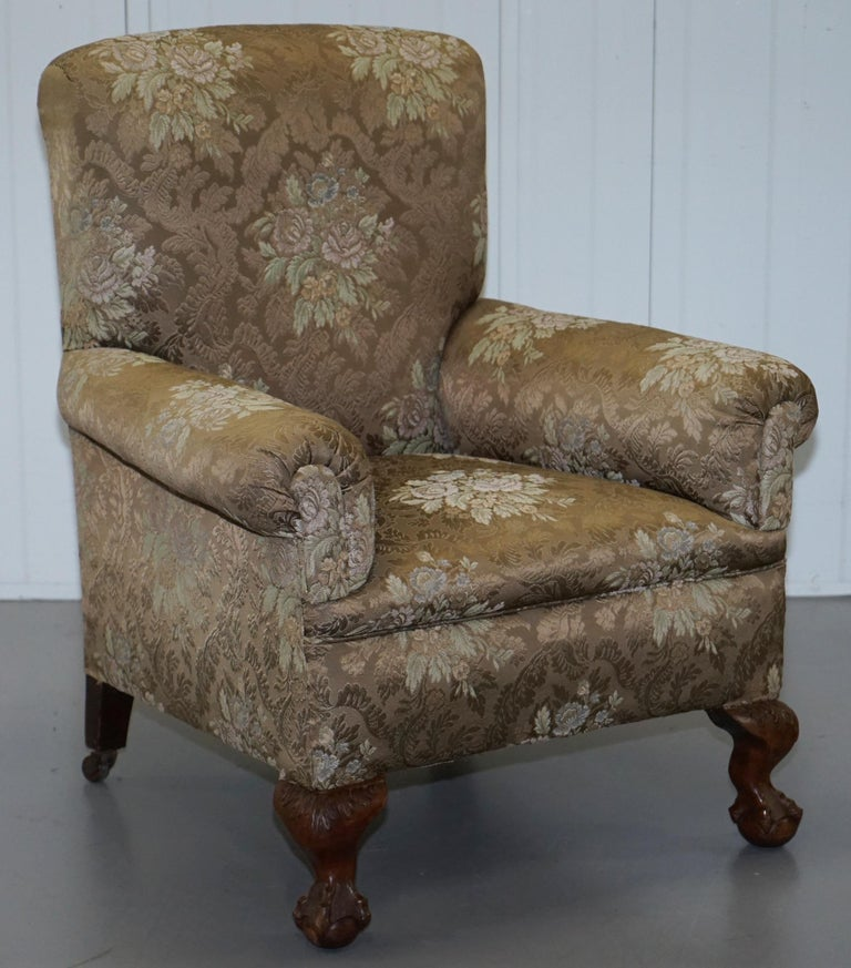 English Victorian Three Piece Suite Drop Arm Sofa & Pair of Armchairs Claw and Ball Feet For Sale