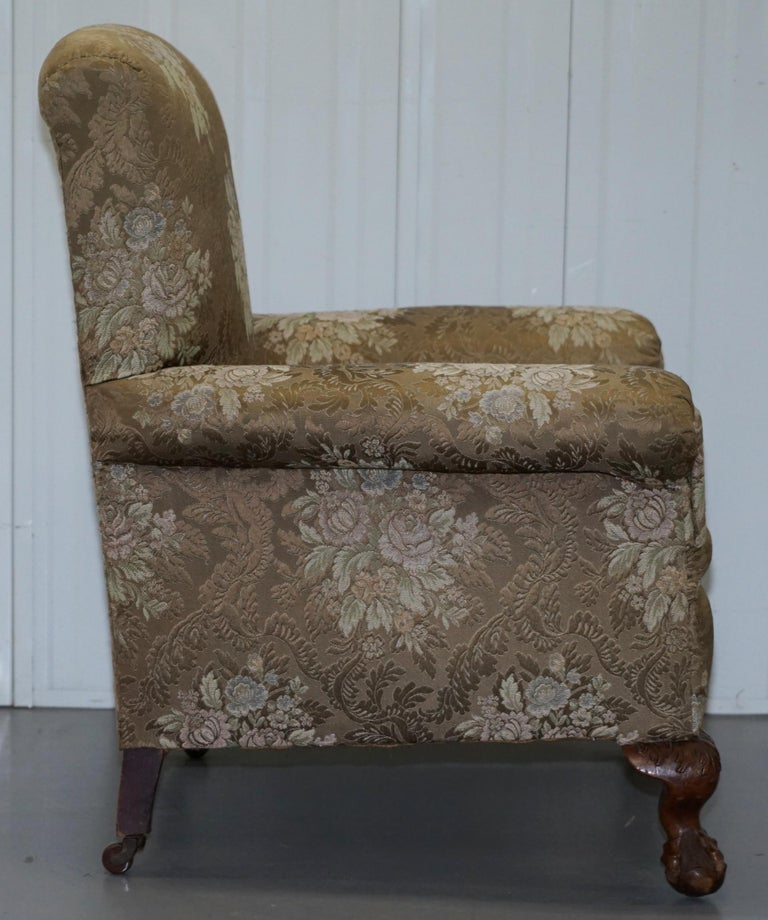 Victorian Three Piece Suite Drop Arm Sofa & Pair of Armchairs Claw and Ball Feet For Sale 1