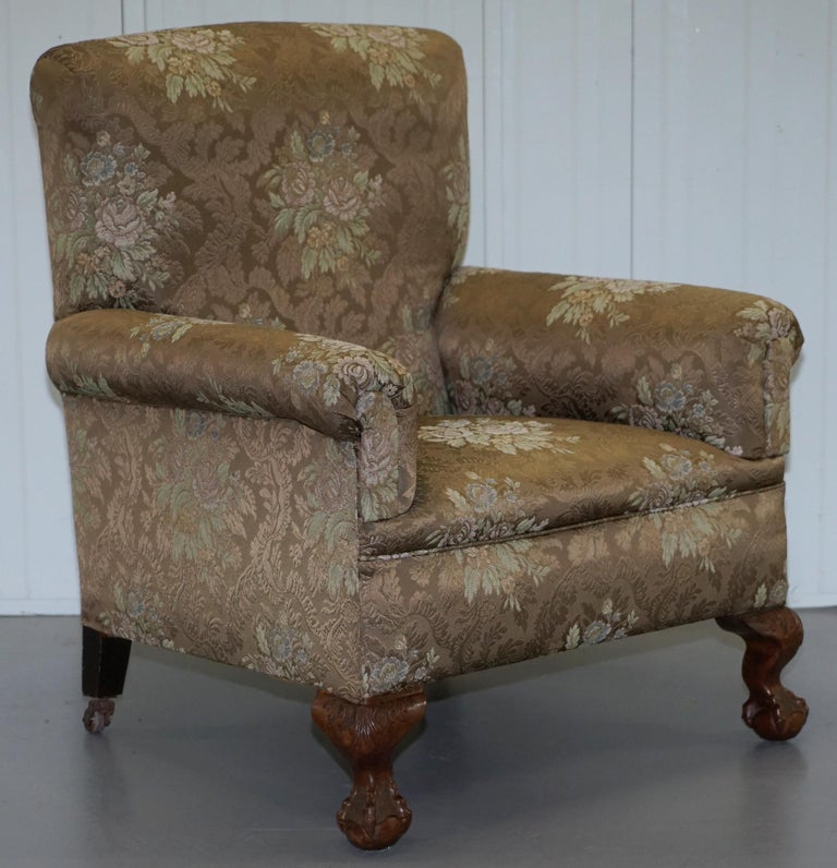 Victorian Three Piece Suite Drop Arm Sofa & Pair of Armchairs Claw and Ball Feet For Sale 2