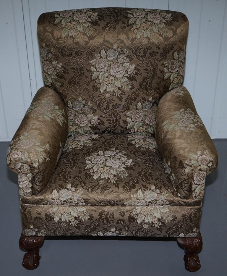 Victorian Three Piece Suite Drop Arm Sofa & Pair of Armchairs Claw and Ball Feet For Sale 3