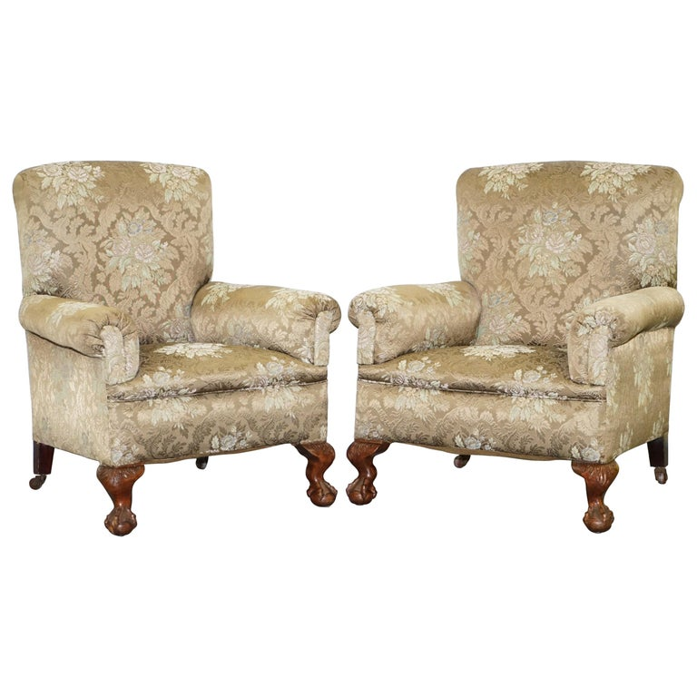 We are delighted to offer for sale this lovely period Victorian three-piece suite to include a drop arm sofa along with a his and hers pair of club chairs all finished with Claw & Ball feet