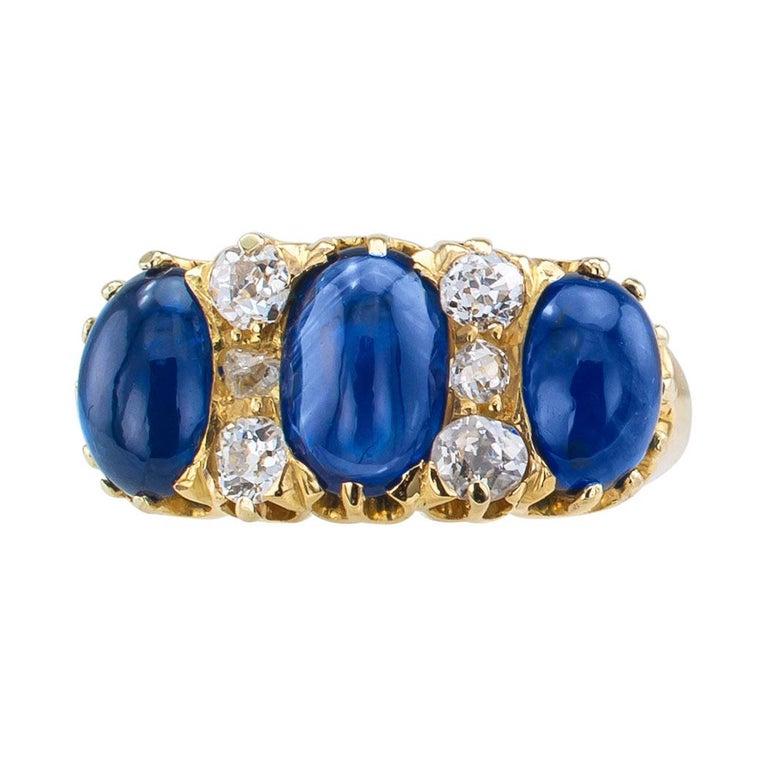 Women's Victorian Three-Stone Cabochon Sapphire Diamond Gold Ring For Sale