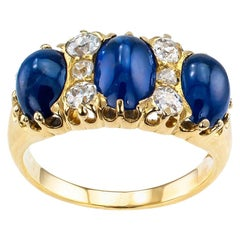 Victorian Three-Stone Cabochon Sapphire Diamond Yellow Gold Ring