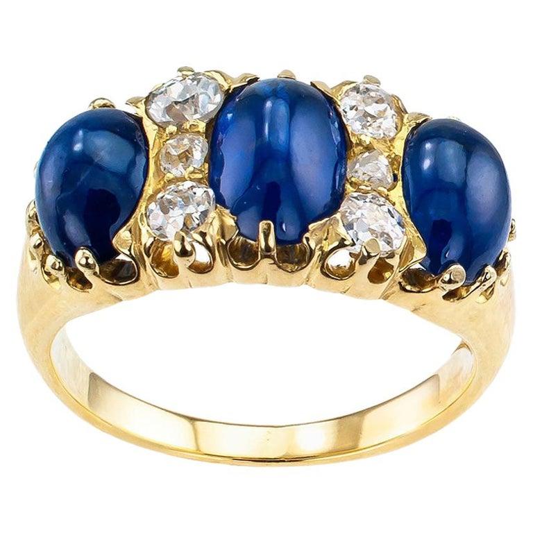 Victorian Three-Stone Cabochon Sapphire Diamond Gold Ring For Sale