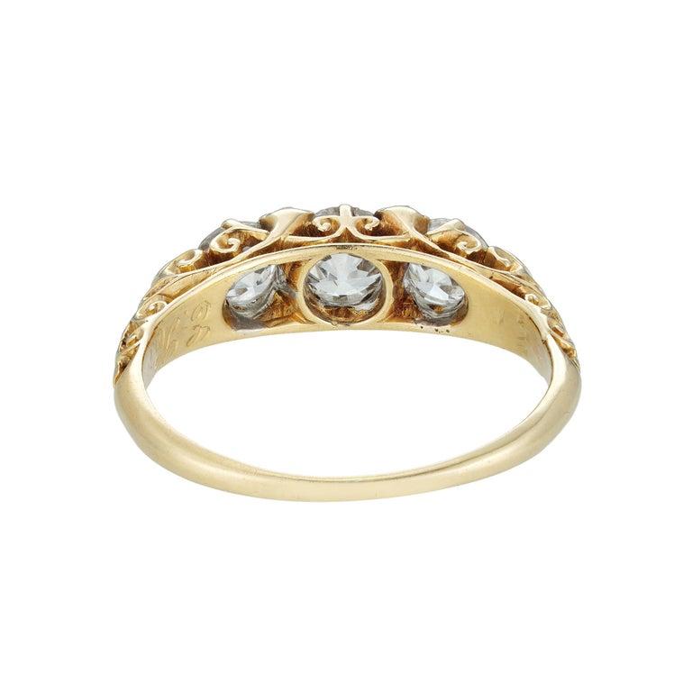 Brilliant Cut Victorian Three-Stone Diamond Ring For Sale