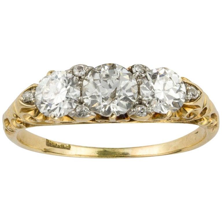 Victorian Three-Stone Diamond Ring For Sale