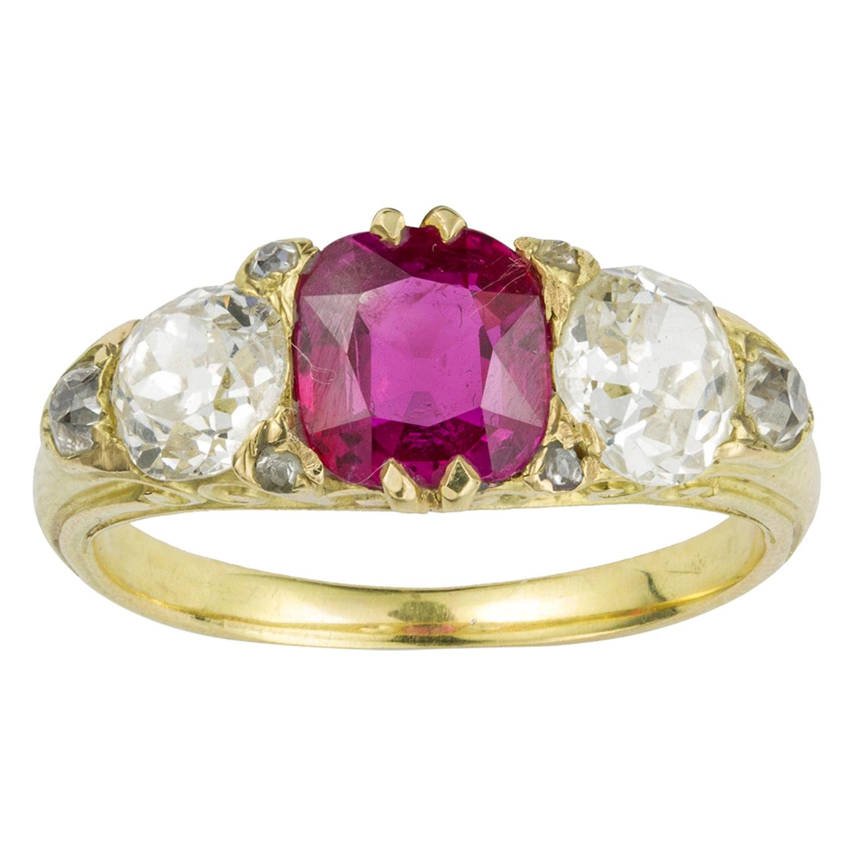 Victorian Three-Stone Ruby and Diamond Ring