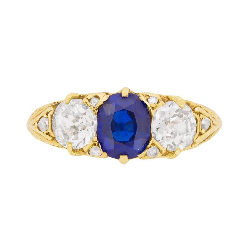 Victorian Three Stone Sapphire and Diamond Ring, circa 1880s