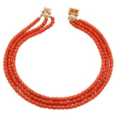 Victorian 14 Karat Gold Multi-Strand Coral Necklace
