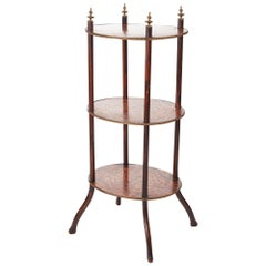 Victorian Three-Tier Oval Inlaid Stand