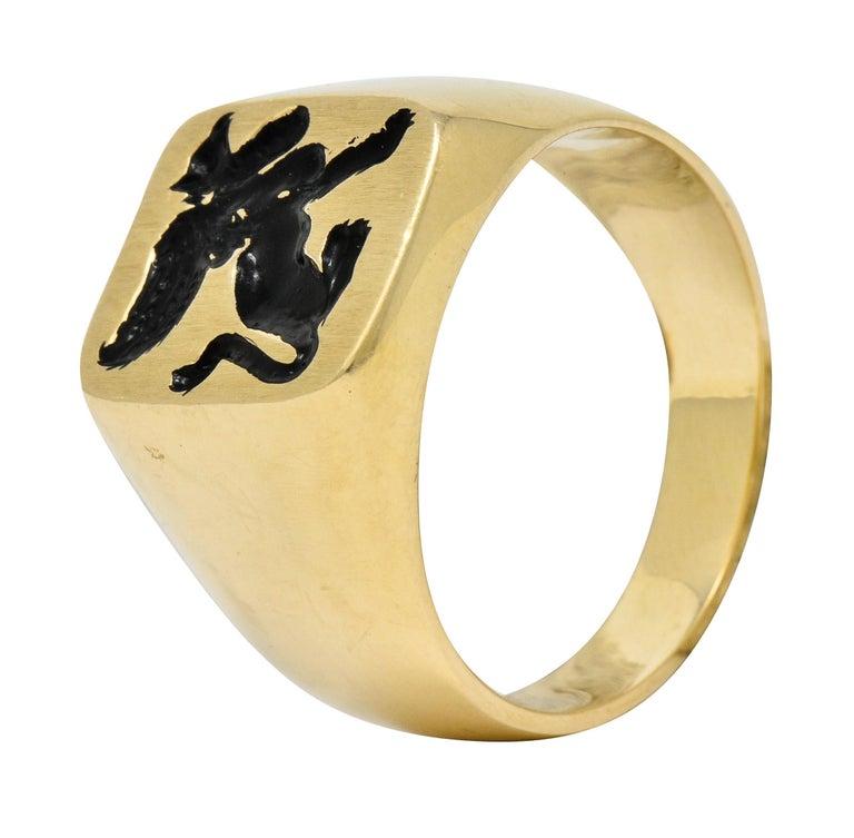 Victorian Tiffany & Co. Enamel 14 Karat Gold Unisex Gryphon Signet Ring For Sale 4