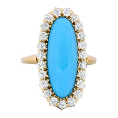 Victorian Tiffany & Co. Diamond Turquoise 18 Karat Gold Cluster Ring, circa 1880