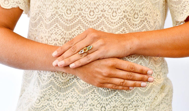 Victorian Topaz Tourmaline Diamond 14 Karat Gold Five-Stone Dinner Navette Ring For Sale 5