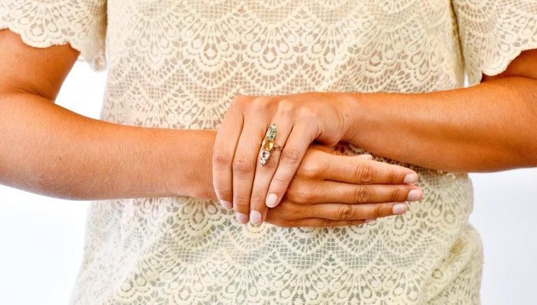 Victorian Topaz Tourmaline Diamond 14 Karat Gold Five-Stone Dinner Navette Ring For Sale 7