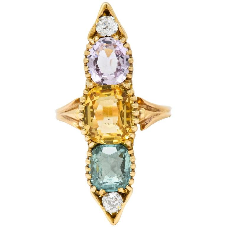 Victorian Topaz Tourmaline Diamond 14 Karat Gold Five-Stone Dinner Navette Ring For Sale