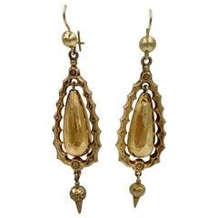 Victorian Torpedo Dangle Earrings Gold Pendant, circa 1860