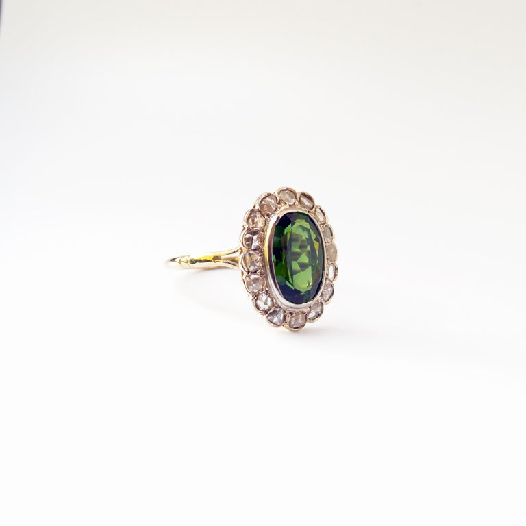 Victorian Tourmaline Halo Ring with Diamonds For Sale 5