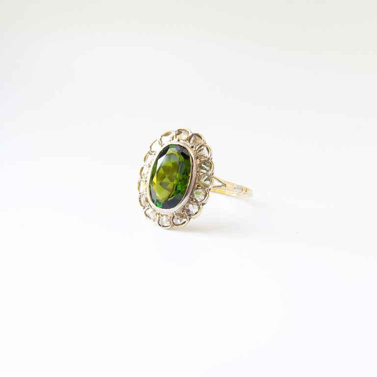 Oval Cut Victorian Tourmaline Halo Ring with Diamonds For Sale