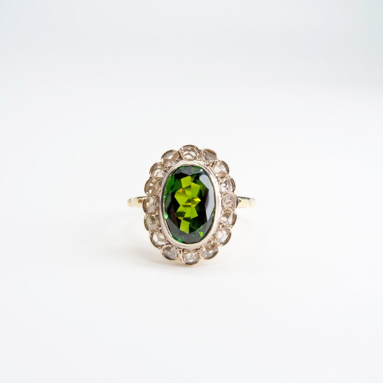 Victorian Tourmaline Halo Ring with Diamonds In Excellent Condition For Sale In Southbury, CT