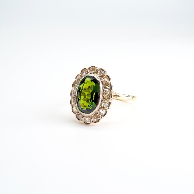 Women's Victorian Tourmaline Halo Ring with Diamonds For Sale