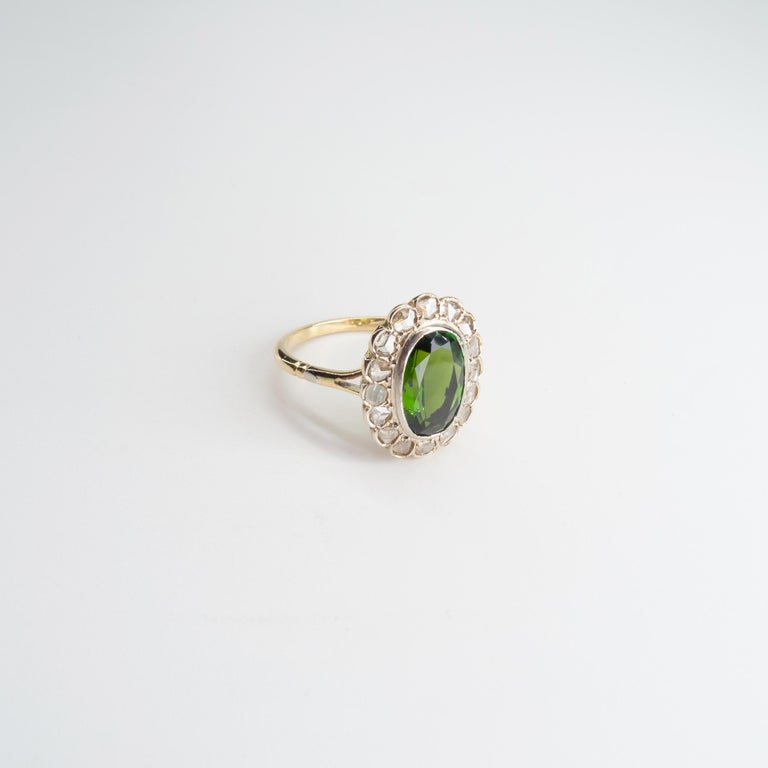 Victorian Tourmaline Halo Ring with Diamonds For Sale 1
