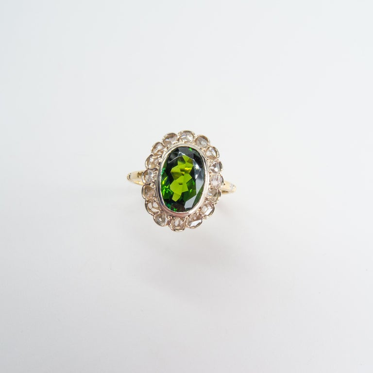 Victorian Tourmaline Halo Ring with Diamonds For Sale 2