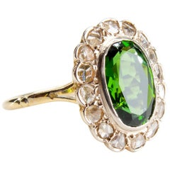 Victorian Tourmaline Halo Ring with Diamonds