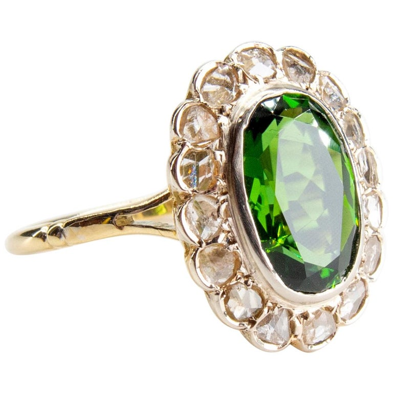 Victorian Tourmaline Halo Ring with Diamonds For Sale