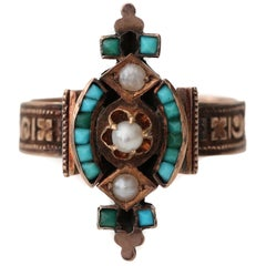 Victorian Tribal Turquoise 9 Karat Rose Gold Ring with Seed Pearls Etched Design