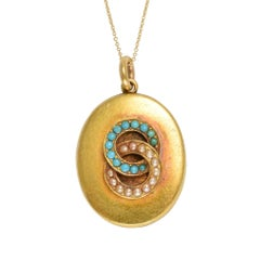 "Victorian Turquoise and Pearl ""Infinity Halos"" Locket"