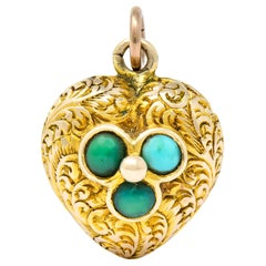 Victorian Turquoise 10 Karat Yellow Gold Engraved Heart Charm