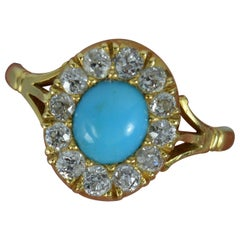 Victorian Turquoise and 0.5 Carat Old Cut Diamond 18 Carat Gold Cluster Ring