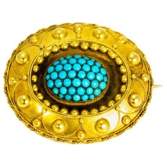 Victorian Turquoise and 15 Carat Gold Brooch