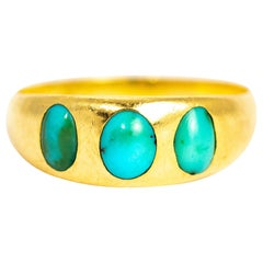 Victorian Turquoise and 18 Carat Gold Three-Stone Band