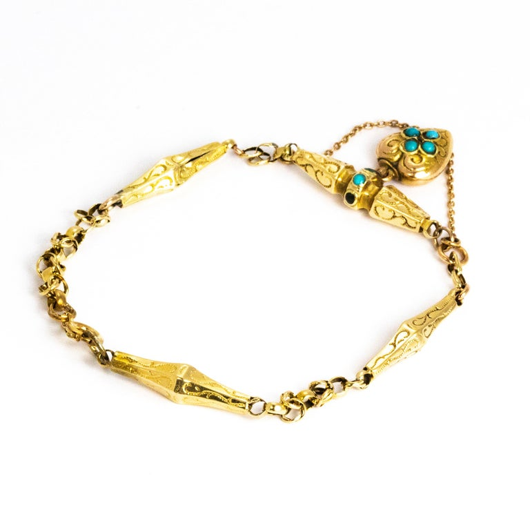 Women's or Men's Victorian Turquoise and 9 Carat Gold Bracelet For Sale