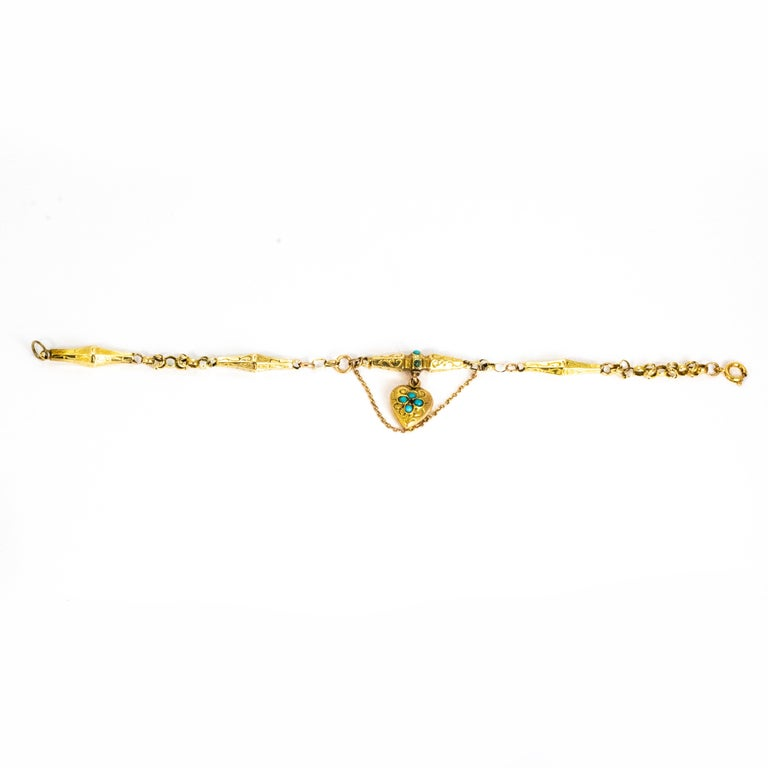 Victorian Turquoise and 9 Carat Gold Bracelet For Sale 1