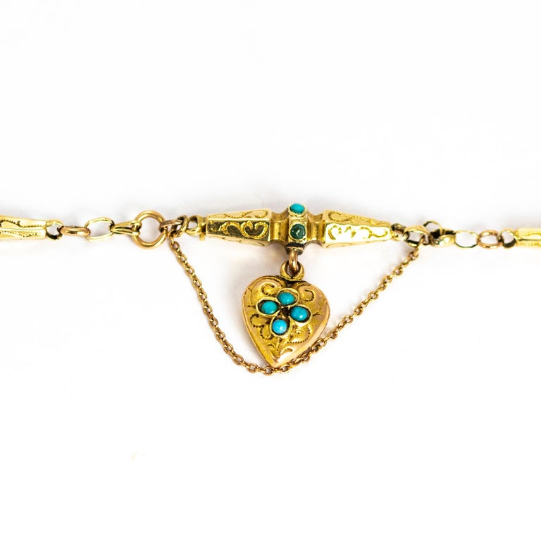 Victorian Turquoise and 9 Carat Gold Bracelet For Sale 2