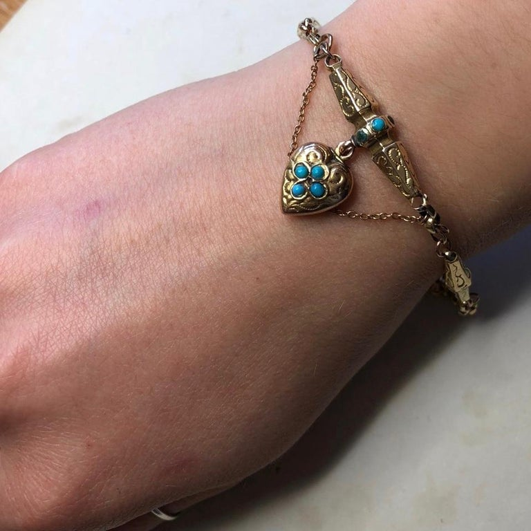 Victorian Turquoise and 9 Carat Gold Bracelet For Sale 4