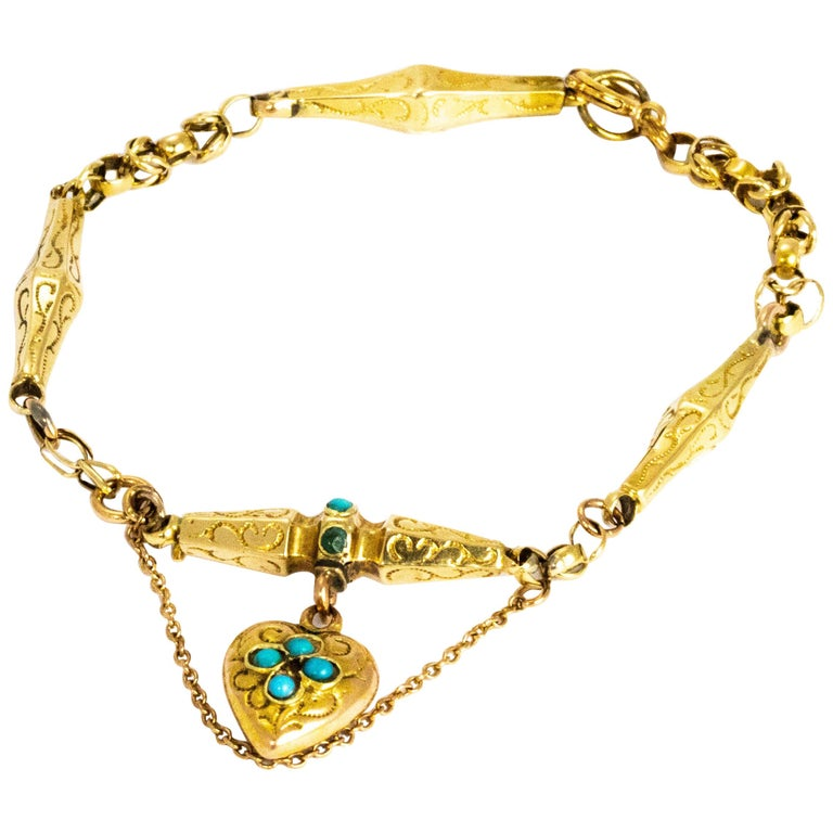 Victorian Turquoise and 9 Carat Gold Bracelet For Sale