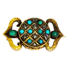Victorian Turquoise and 9 Carat Gold Locket Back Brooch
